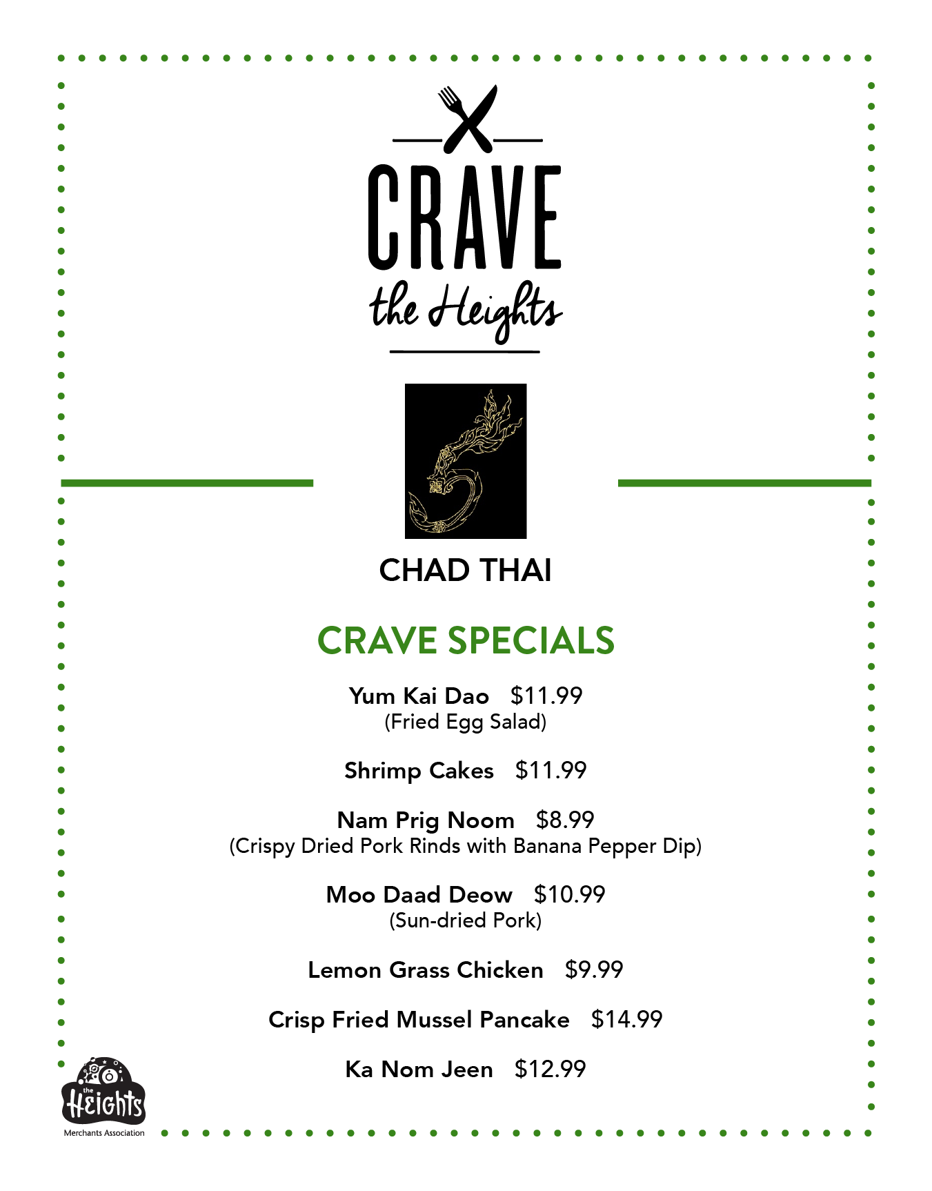 Chad Thai Menu